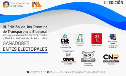 [Internacionales] Transparencia Electoral lleva a cabo la III Edición de los Premios de Transparencia Electoral a las páginas web de los Organismos Electorales y los Partidos Políticos de América Latina.