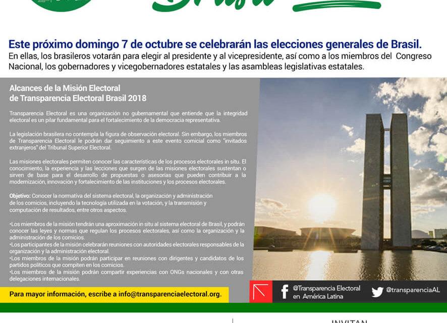 Transparencia Electoral realizará una Misión Electoral en el marco de la Elecciones Generales de Brasil 2018