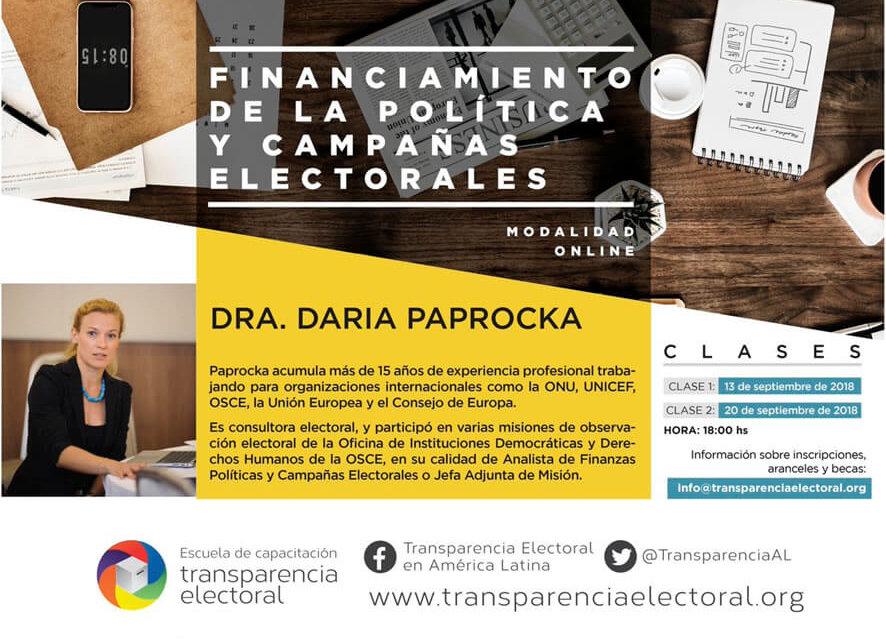 """Transparencia Electoral presenta el curso online """"Financiamiento de la Política y Campañas electorales. La experiencia europea."""""""