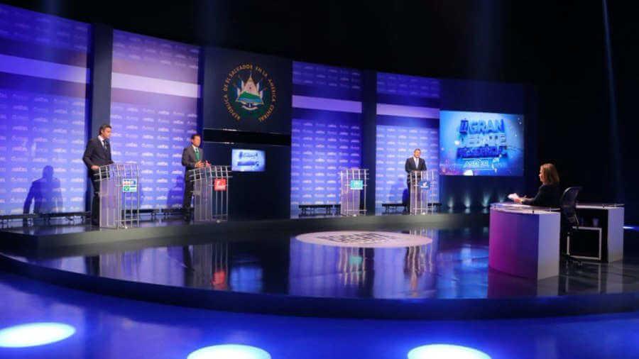 (El Salvador) Con la ausencia de Bukele se celebró el debate entre candidatos a la presidencia