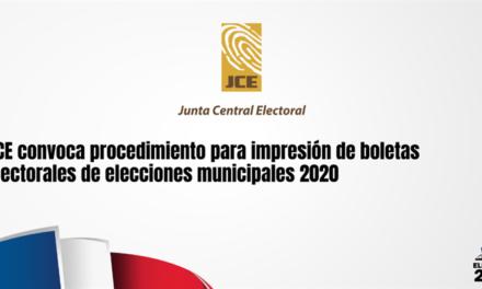 (República Dominicana) JCE convoca procedimiento para impresión de boletas electorales de elecciones municipales 2020