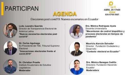 """(Ecuador) Hoy se transmitirá el webinar """"Elecciones Post covid 19: nuevos escenarios en #Ecuador"""""""