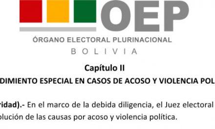 (Bolivia) Jueces electorales podrán resolver casos de acoso político, sancionar y establecer medidas de protección y reparación a la víctima