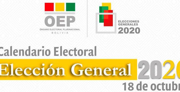 (Bolivia) El TSE aprueba el Calendario Electoral para la elección del 18 de octubre