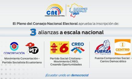 (Ecuador) CNE aprueba registro de tres alianzas electorales a escala nacional